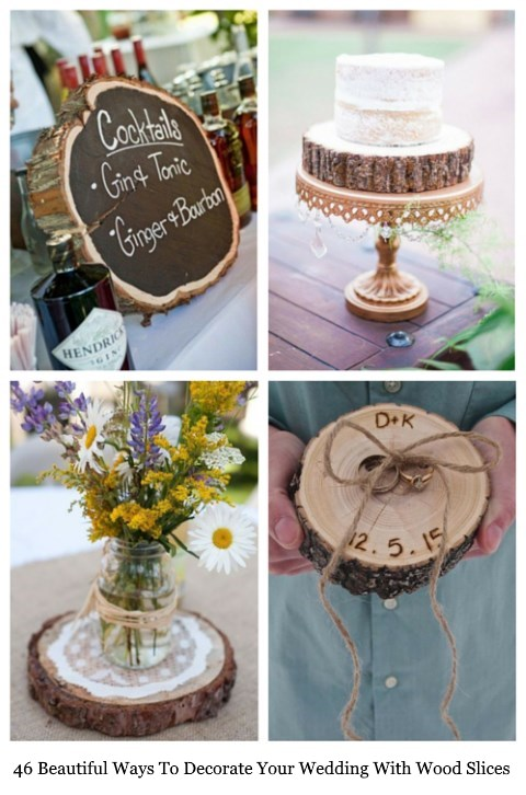 46 Beautiful Ways To Decorate Your Wedding With Wood Slices