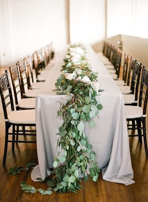 eucalyptus and flowers wedding table runner