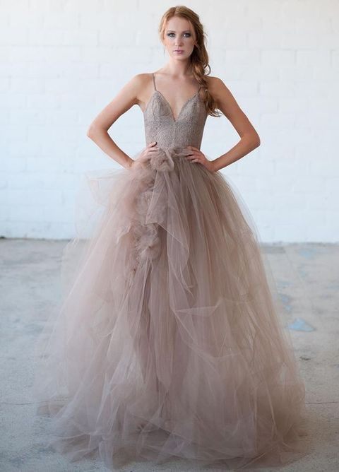 Purple Lace Bodice And Layered Tulle Wedding Dress