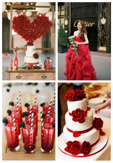 52 Striking Red Touches For Valentine's Day Weddings