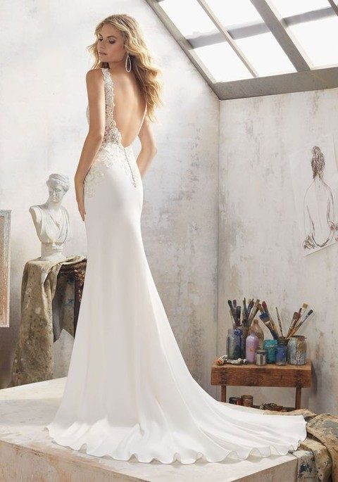 Crystal Beaded Embroidered Wedding Dress With A Cutout Back And Ons