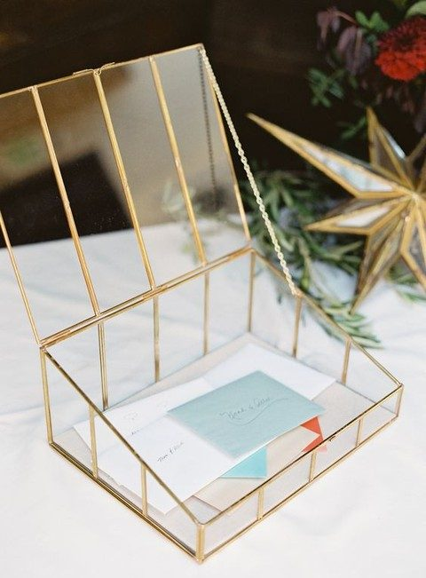 Elegant Clear Wedding Card Box With Br Details And A Chain