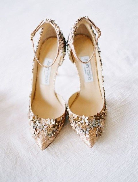 Glitter Jimmy Choo Wedding Shoes With Metallic Flowers