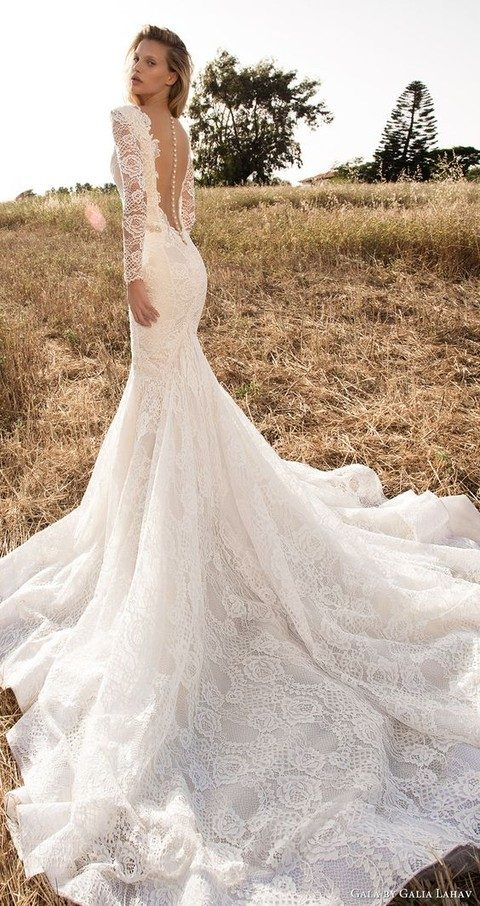 2731e3a1e01 long sleeves deep V neck mermaid lace wedding dress with an illusion back