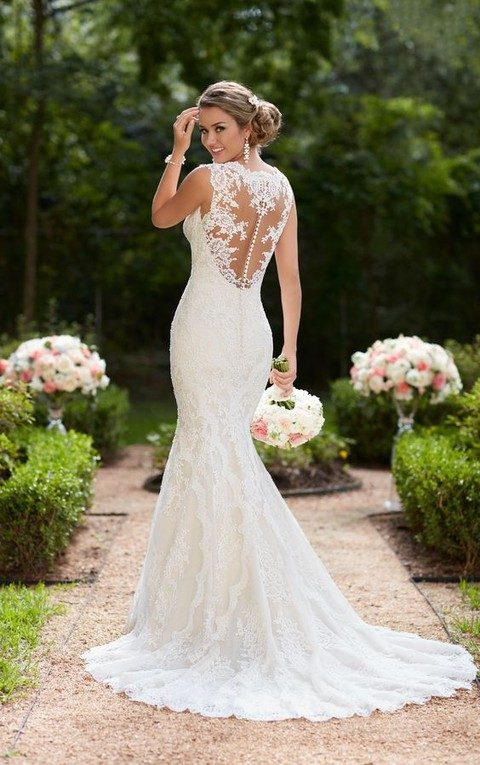 83cb0ffdc6d vintage lace trumpet wedding dress with an illusion back on buttons