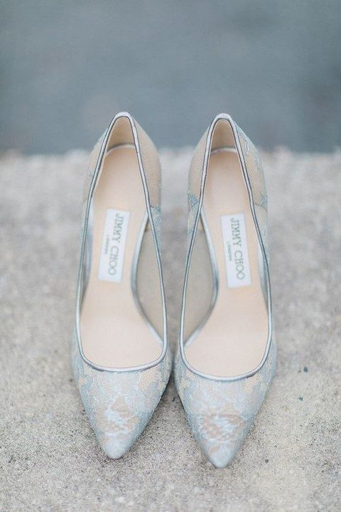 Light Blue Lace Heels Are A Great Idea For Something Neutral Wedding Shoes