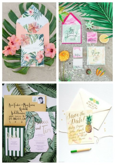 24 Colorful Tropical Wedding Stationary Ideas