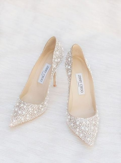 Crystals And Pearls Covered Wedding Shoes By Jimmy Choo