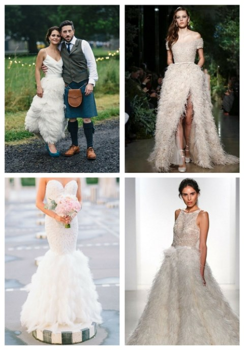 31 Feather Wedding Dresses That Wow