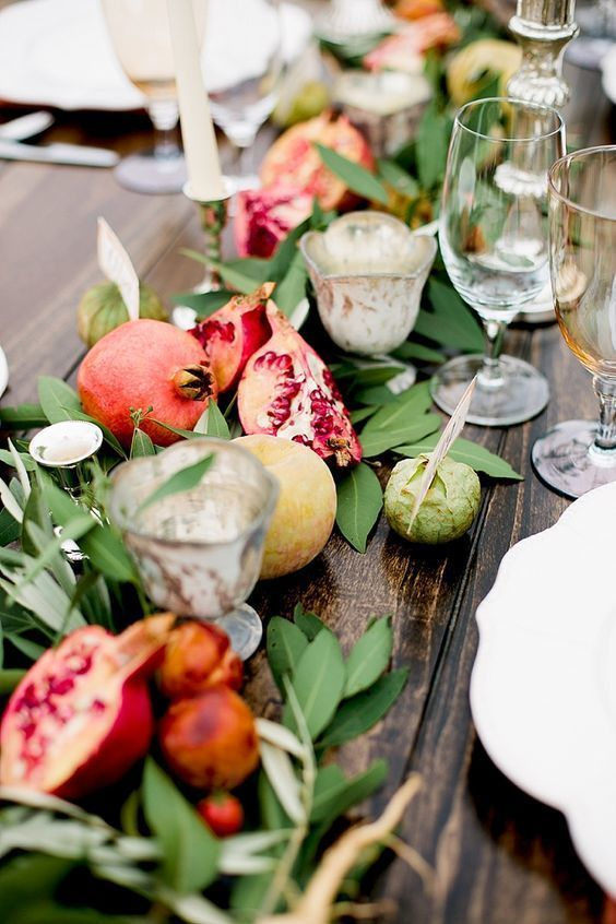 Peachy A Wedding Table Runner Of Greenery Pomegranates And Apples Complete Home Design Collection Barbaintelli Responsecom