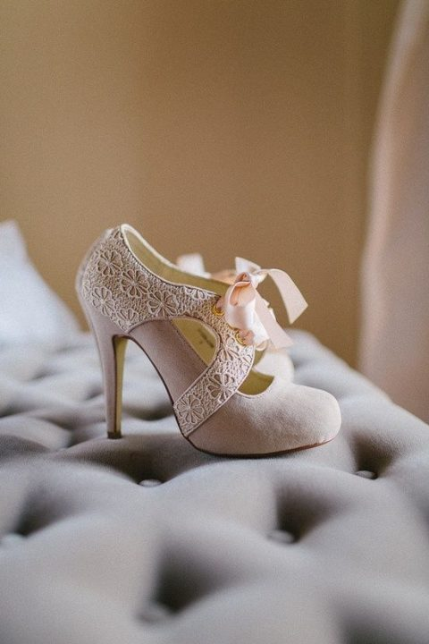 Blush Suede And Lace Winter Wedding Shoes With Pink Ribbon Bows