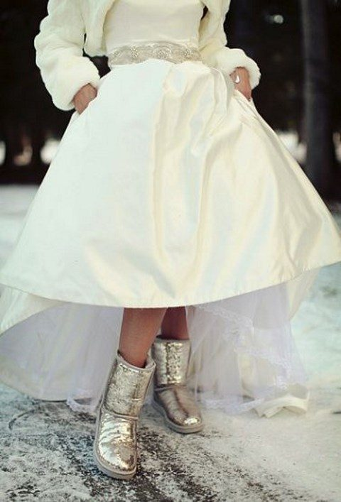 Silver Sparkle Wedding Ugg Boots For Edgy Brides