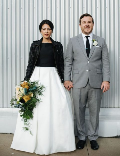 A Black And White Line Wedding Dress Leather Jacket For Modern Bride