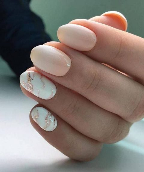 Light Pink Manicure With Two Accent Nails In White And