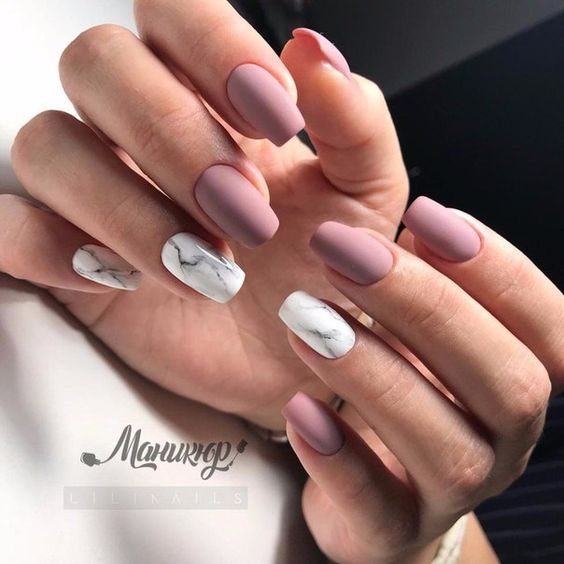 Matte Mauve Nails And White Marble Accents