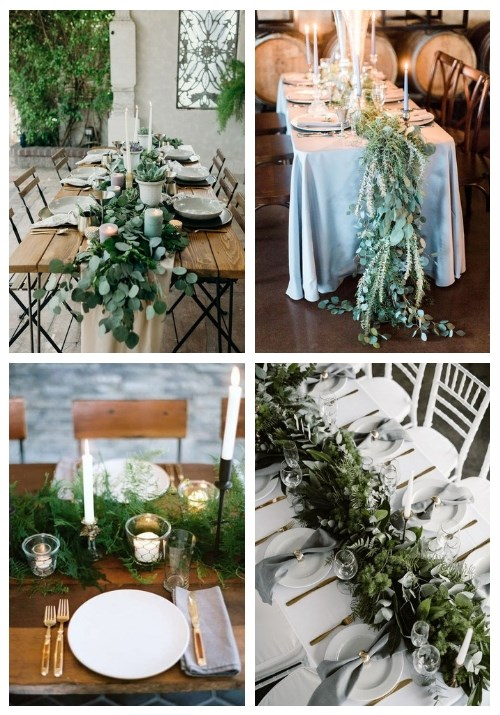 25 Refreshing Greenery Wedding Table Runners