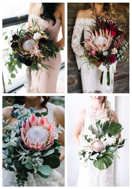 30 Wedding Bouquets With King Proteas